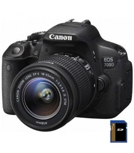 Фотоаппарат Canon EOS 700D 18-55 IS STM+объектив 18-55 IS STM, зеркльный, 18Mpix,  Черный